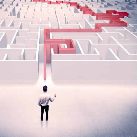 Man with Route to get Out of Maze